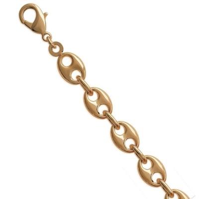 Bracelet homme, Grains de Café en plaqué or - 9 mm - Lyn&Or Bijoux