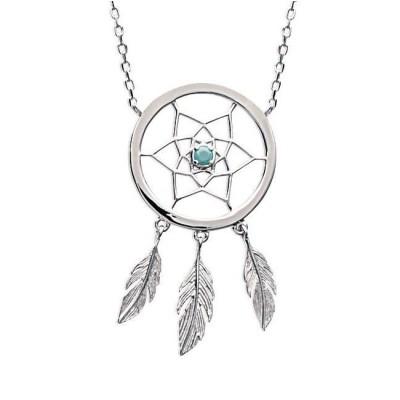 Collier attrape-rêve indien en argent et pierre turquoise - Bijoux femme