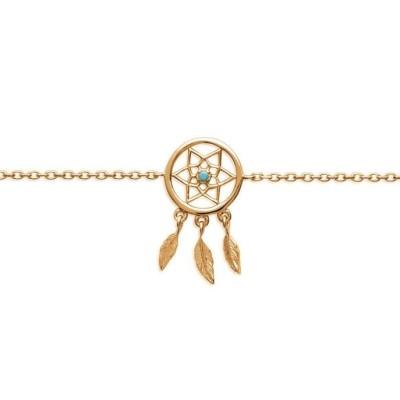 Bracelet attrape-rêve indien en plaqué or et pierre turquoise - Bijoux femme