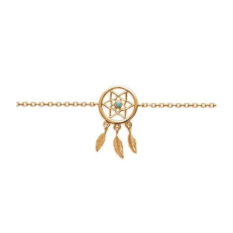 Bracelet plaqué or et pierre turquoise pour femme - Attrape-rêve - Lyn&Or Bijoux
