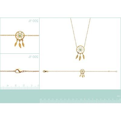 Bracelet plaqué or et pierre turquoise - Attrape-rêve