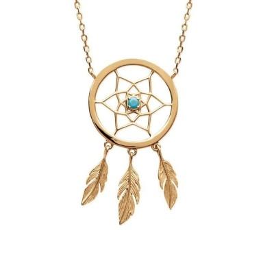 Collier attrape-rêve indien en plaqué or et pierre turquoise - Bijoux femme