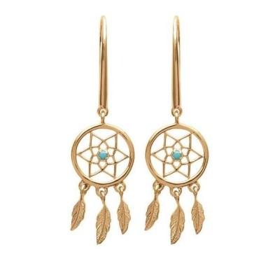 Boucles d'oreilles attrape-rêve indien en plaqué or et pierre turquoise - Bijoux femme