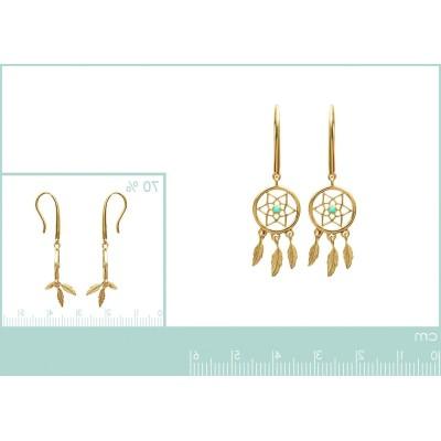 Boucles d'oreilles plaqué or et pierre turquoise - Attrape-rêve