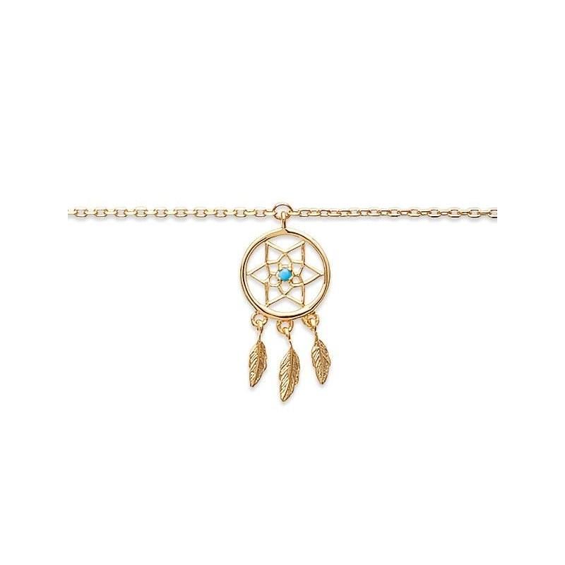 Chaîne de cheville pour femme, plaqué or - Attrape-rêve - Lyn&Or Bijoux