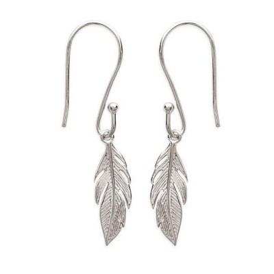 Boucles d'oreilles pendantesplume en argent rhodié - Bijoux femme