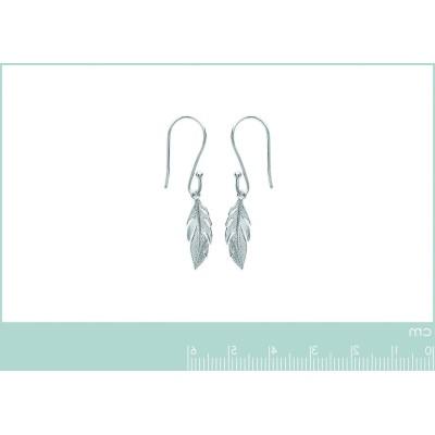 Boucles d'oreilles pendantes en argent rhodié - Plume