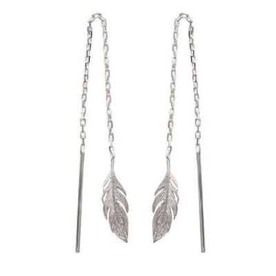 Chaïnes d'oreillesplume en argent rhodié - Bijoux femme