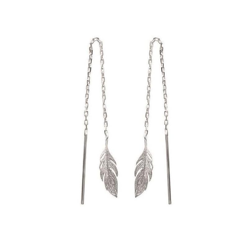 Chaînes d'oreilles en argent rhodié pour femme - Plume - Lyn&Or Bijoux