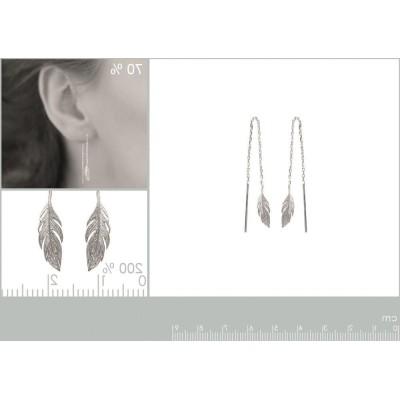Chaïnes d'oreilles en argent rhodié - Plume