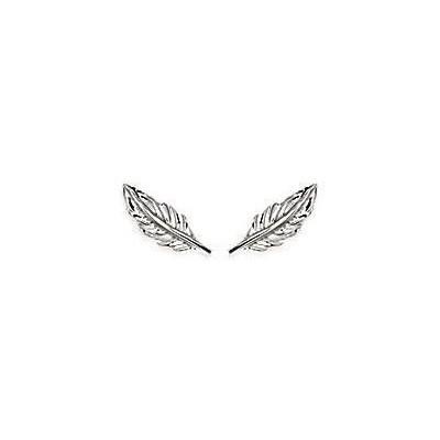 Boucles d'oreilles puces en argent rhodié pour femme - Plume - Lyn&Or Bijoux