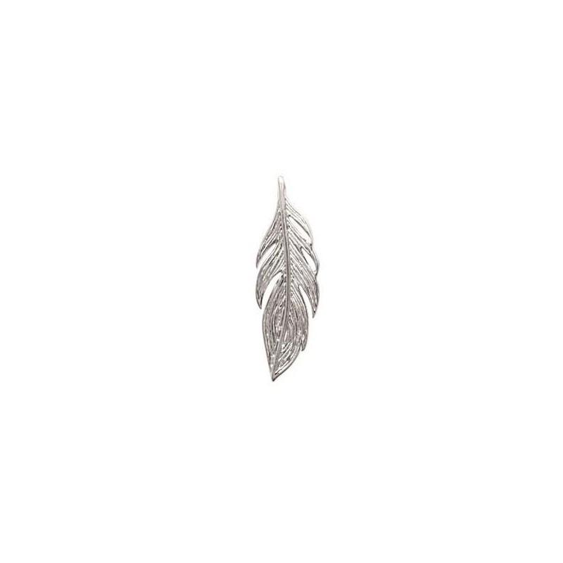 Pendentif en argent rhodié 25 mm pour femme - Plume - Lyn&Or Bijoux