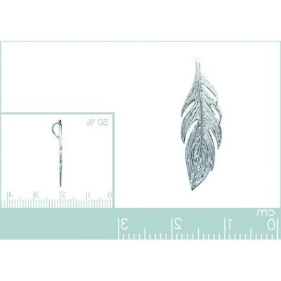 Pendentifplume en argent rhodié 25 mm - Bijoux femme