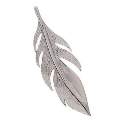 Pendentif en argent rhodié 45 mm pour femme - Plume - Lyn&Or Bijoux