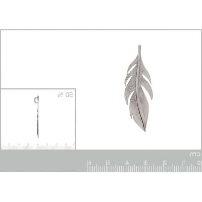 Pendentif en argent rhodié 45 mm - Plume
