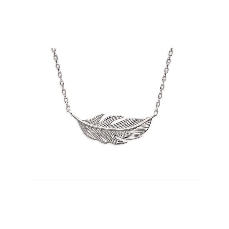 Collier en argent rhodié pour femme - Plume - Lyn&Or Bijoux