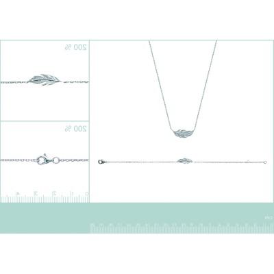 Collier en argent rhodié - Plume