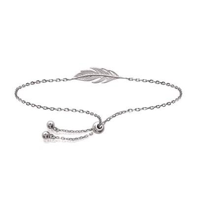 Bracelet indien en argent rhodié pour femme - Plume - Lyn&Or Bijoux