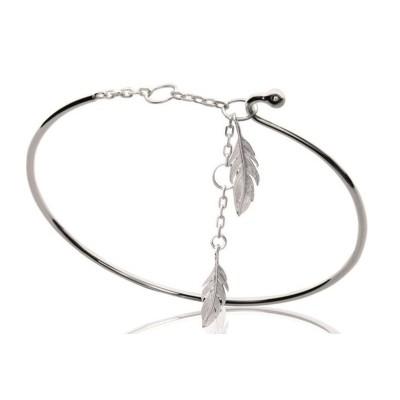 Bracelet Jonc à breloques en argent rhodié pour femme - Plume - Lyn&Or Bijoux