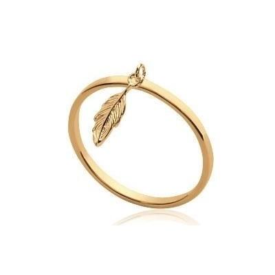 Bague femme en plaqué or avec breloque plume - Lyn&Or Bijoux