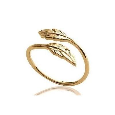 Bague ouverteplume en plaqué or pour femme - Bijoux femme