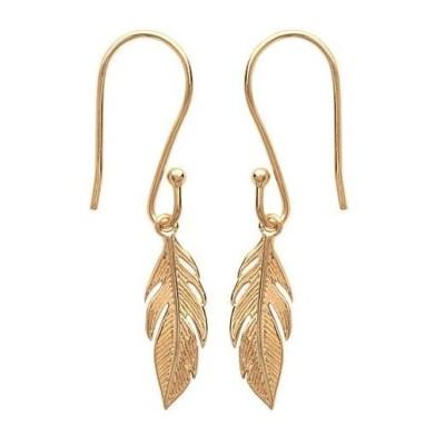 Boucles d'oreilles pendantesplume en plaqué or - Bijoux femme