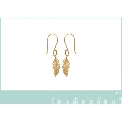 Boucles d'oreilles pendantes en plaqué or - Plume