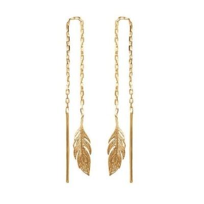 Chaïnes d'oreillesplume en plaqué or - Bijoux femme