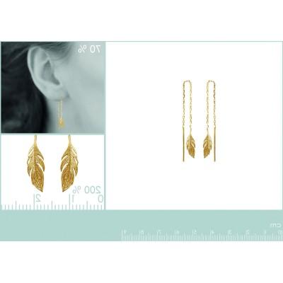 Chaïnes d'oreilles en plaqué or - Plume