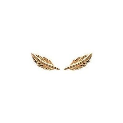 Boucles d'oreilles pucesplume en plaqué or - Bijoux femme