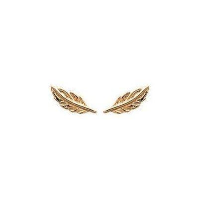 Boucles d'oreilles puces en plaqué or pour femme - Plume - Lyn&Or Bijoux