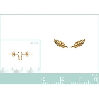Boucles d'oreilles puces en plaqué or - Plume