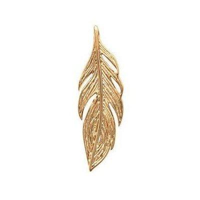 Pendentif en plaqué or 2,5 cm pour femme - Plume - Lyn&Or Bijoux