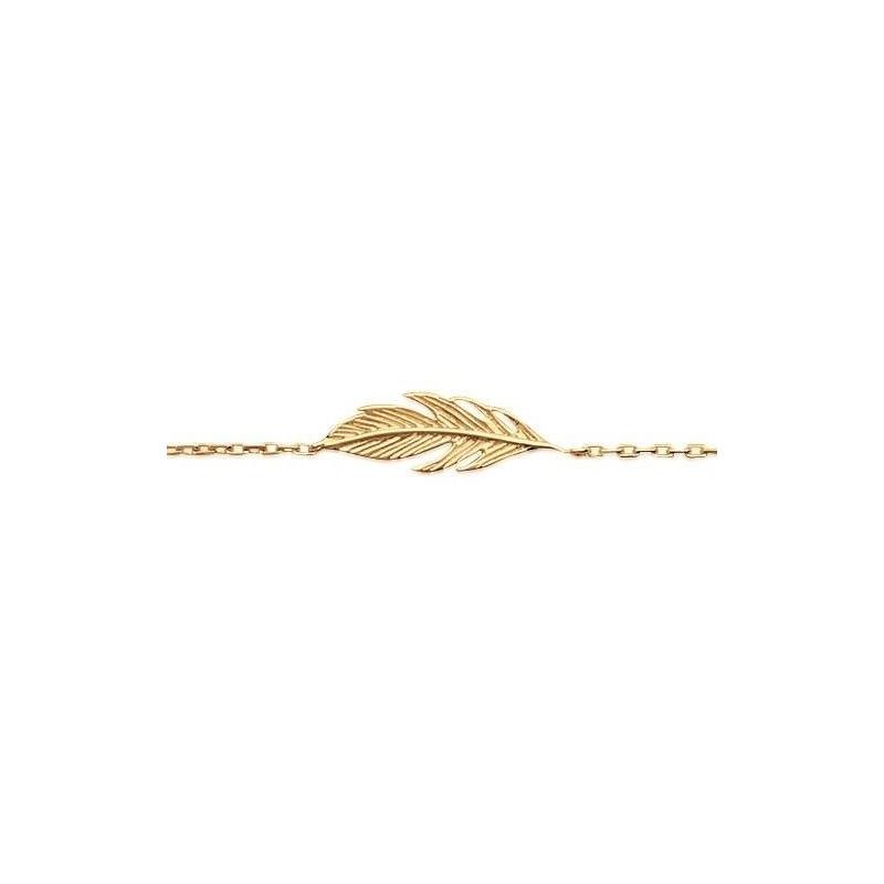 Bracelet gourmette en plaqué or pour femme - Plume - Lyn&Or Bijoux