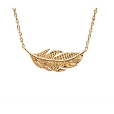 collier plume en plaqué or pour femme - Bijoux pas cher
