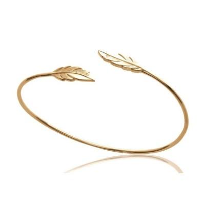 Bracelet ouvert pour femme, jonc en plaqué or motif plume