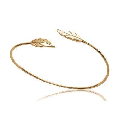 Bracelet Jonc ouvert en plaqué or pour femme - Plume - Lyn&Or Bijoux
