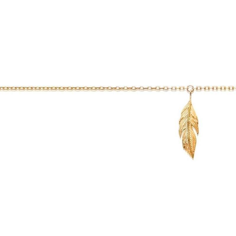 Chaîne de cheville pour femme, plaqué or - Plume - Lyn&Or Bijoux