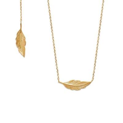 Collier 45 cmplume en plaqué or - Bijoux femme
