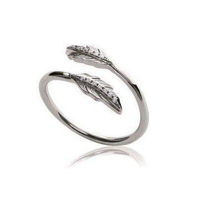 Bague femme, anneau ouvert & plume en argent et zircon - Sara - Lyn&Or Bijoux