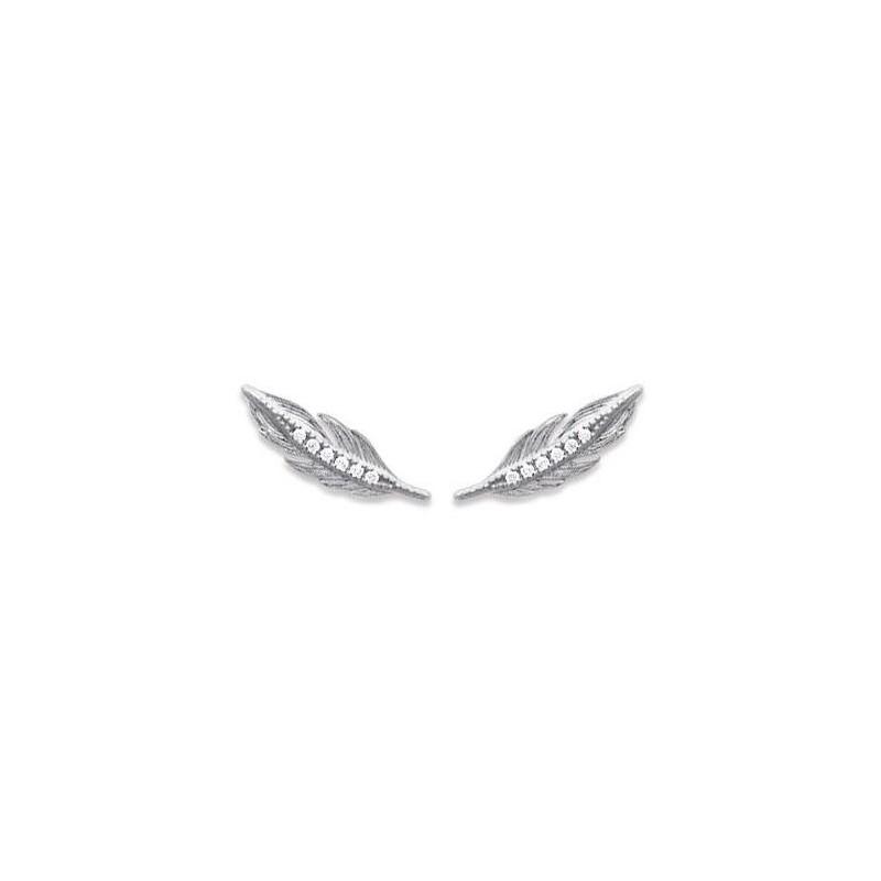 Contours d'oreilles plumes en argent rhodié et zircon - Bijoux Femme