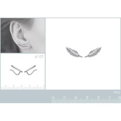 Contours d'oreilles plumes en argent rhodié et zircon - Sara