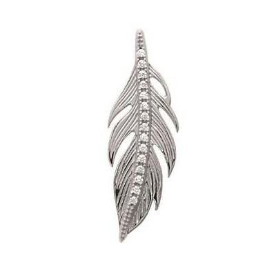 Pendentif plume en argent rhodié et zircon - Bijoux Femme