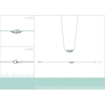 Bracelet plume en argent rhodié et zircon - Sara