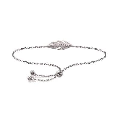 Bracelet coulissant plume en argent rhodié et zircon - Bijoux Femme