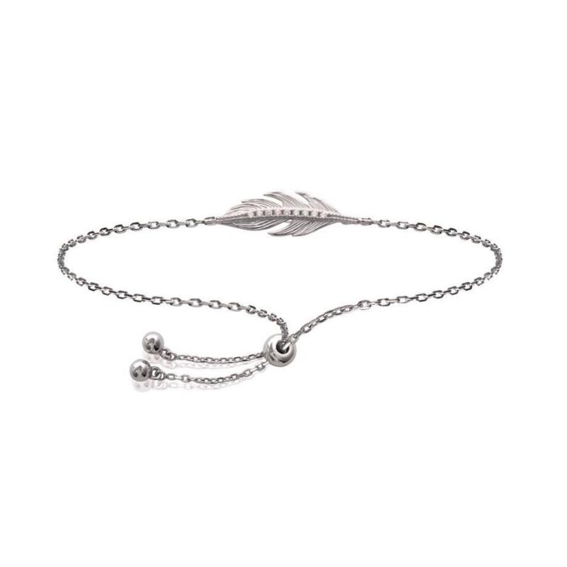 Bracelet coulissant plume en argent rhodié et zircon pour femme - Sara - Lyn&Or Bijoux