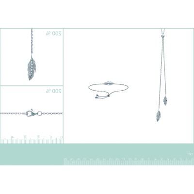 Collier coulissant plume en argent rhodié et zircon - Sara