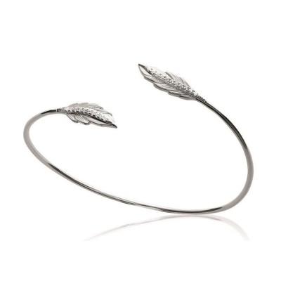 Bracelet Jonc plume en argent rhodié et zircon - Bijoux Femme