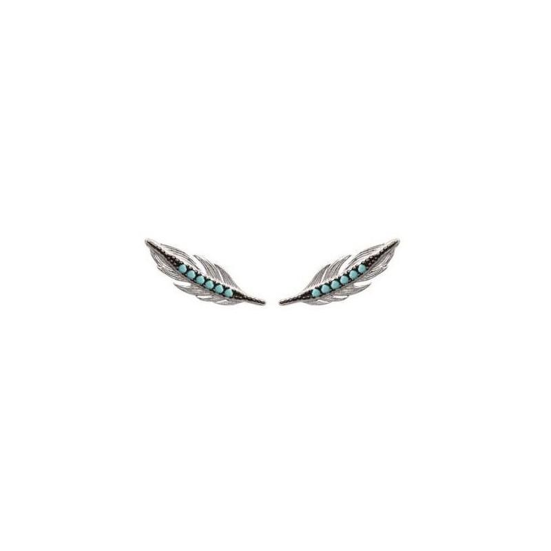 Contours d'oreilles Plumes en argent et pierre turquoise - Fanny - Lyn&Or Bijoux