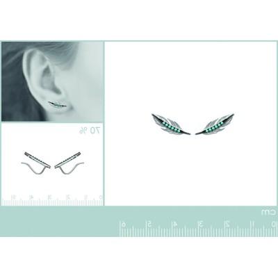 Contours d'oreilles Plumes en argent et pierre turquoise - Fanny
